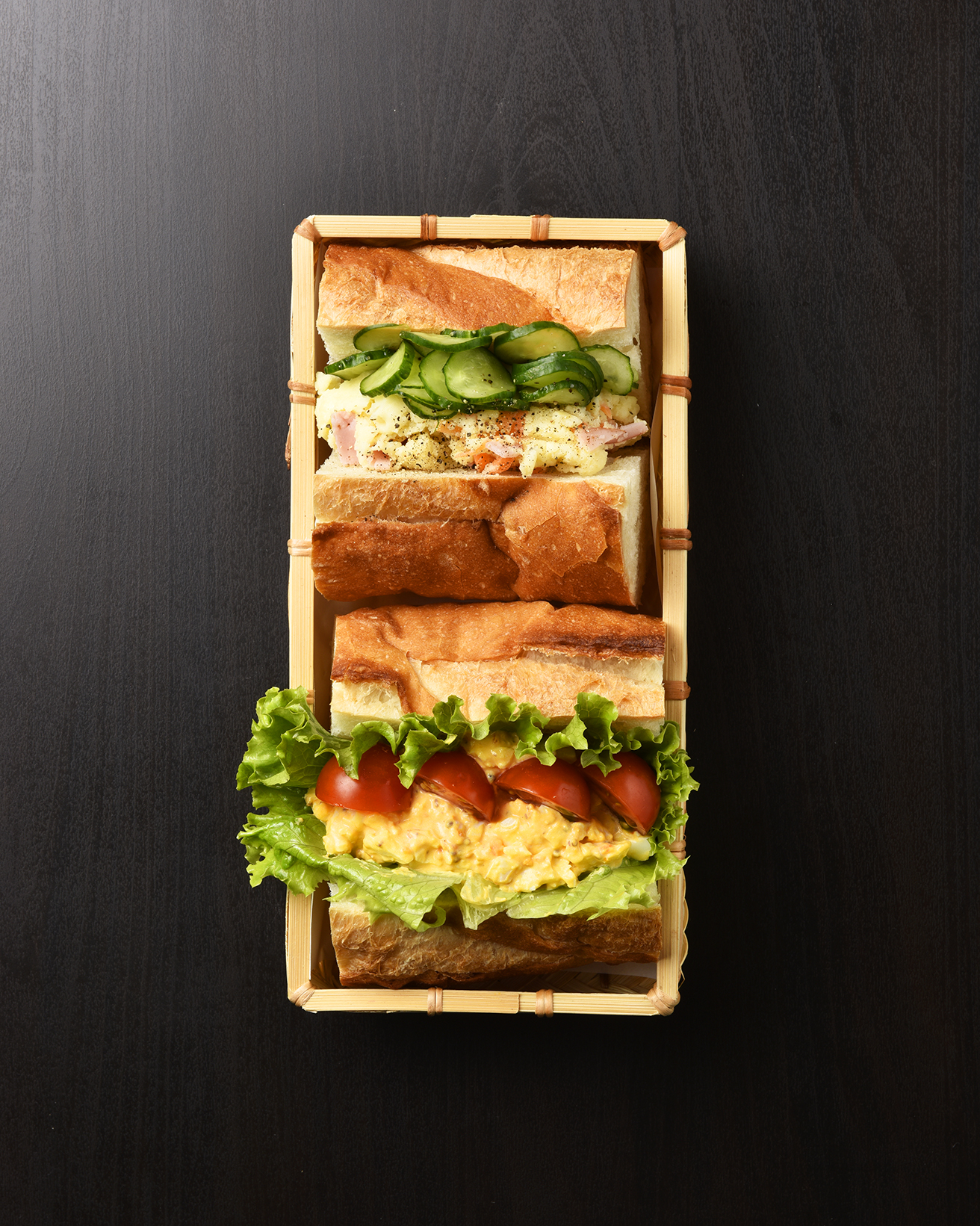 Egg & Potato Salad Baguette Sandwich Bento